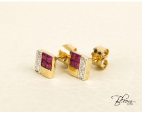 Natural Diamond and Ruby Srud Earrings 18K Yellow Gold Guy Laroche