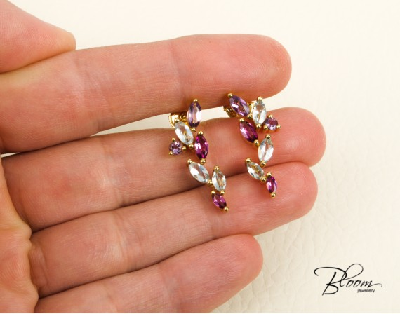 Amethyst, Rodolite and Blue Topaz Long Earrings 18K Earrings Louis FERAUD
