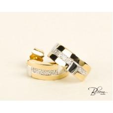 White and Yellow Gold Diamond Stud Earrings 18K Guy Laroche