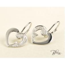 Heart Drop Earrings White Gold 18K and Diamond Stones Guy Laroche