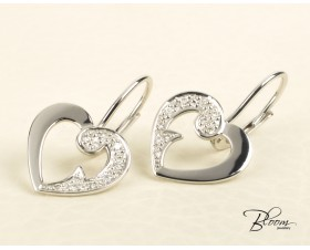 Heart Drop Earrings White Gold 18K and Diamond Stones Guy Laroche