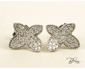 Diamond Butterfly Pave Earrings 18K White Gold Louis FERAUD