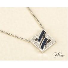 Sapphire Necklace 18K White Gold Diamond Pendant Guy Laroche