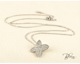 Butterfly Diamond Necklace 18K White Gold Pave Setting Louis FERAUD