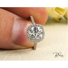 Halo Cushion Engagement Ring 14K Solid White Gold Cz Stones Bloom Jewellery