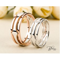 Two Tone Wedding Rings 14K White and Rose Gold Bloom Jewellery