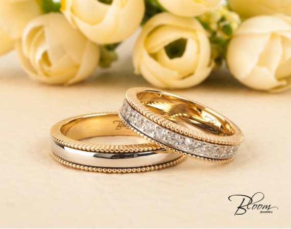 Two Tone Wedding Bands 14K White and Yellow Gold Cubic Zirconia Eternity Ring Bloom Jewellery