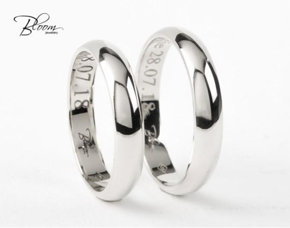 Classic Wedding Rings 14K White Gold Bloom Jewellery