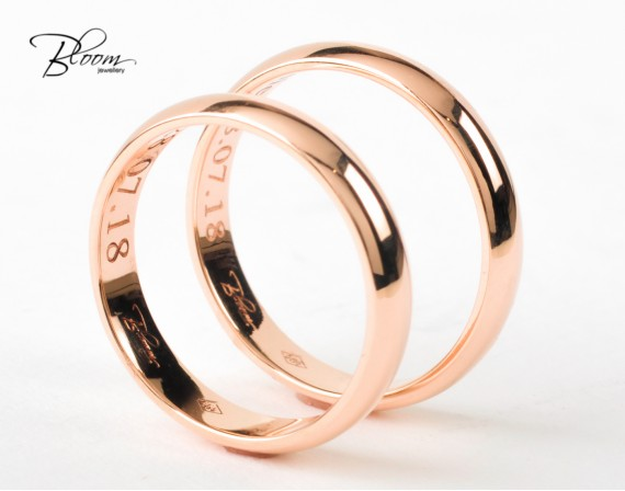 Classic Wedding Rings 14K Rose Gold Bloom Jewellery