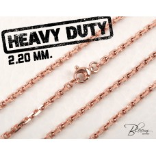 14K Rose Gold Chain Necklace Solid and Durable Gold Necklace 2.20 mm. Bloom Jewellery