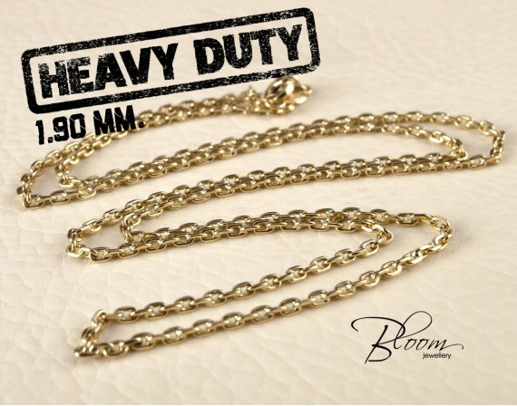 Solid Gold Chain Necklace for Men 14K Gold Anchor Chain Hand Made 1.90 mm. Bloom Jewellery