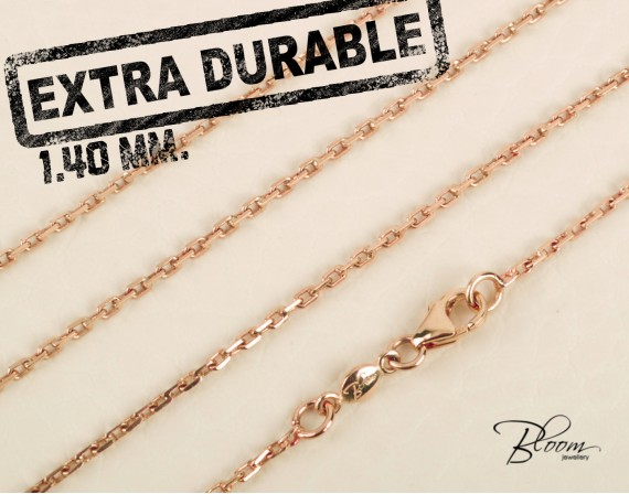 Extra Durable Rose Gold Chain 14K Hand Made 1.40 mm. Bloom Jewellery