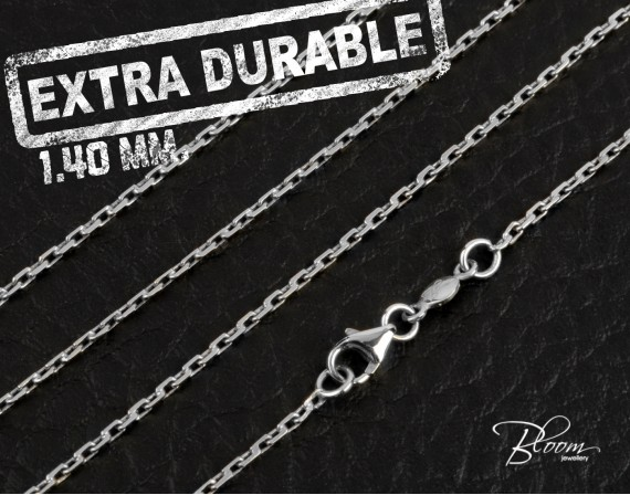 Extra Durable White Gold Chain 14K Hand Made 1.40 mm. Bloom Jewellery