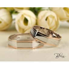 Two Tone Wedding Bands 14K White and Rose Gold Octagon Ring Bloom Jewellery
