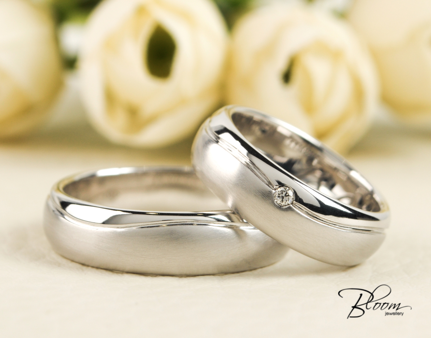 This is a photo of Matte Wedding Bands Heavy White Gold Couple Rings 48K Bloom Jewellery