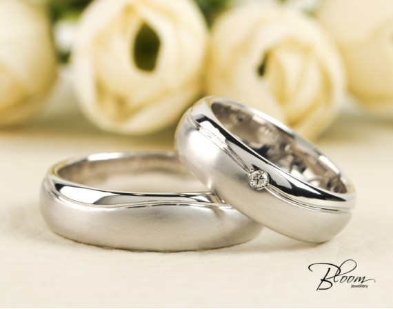 Matte Wedding Bands Heavy White Gold Couple Rings 14K  Bloom Jewellery