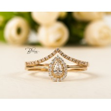 Pear Halo Ring and Chevron Gold Ring Set 14K Solid Gold CZ Stones Bloom Jewellery