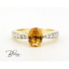 Citrine Gold Ring with Diamond Stones Bloom Jewellery