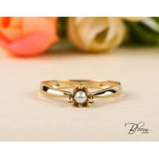 Freshwater Pearl Ring 14K Solid Yellow Gold Bloom Jewellery