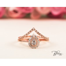 Pear Halo Ring and Chevron Rose Gold Ring Set 14K Solid Gold CZ Stones Bloom Jewellery