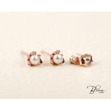 14K Rose Gold Stud Earrings Push Back Pearl Earrings for Wedding Bloom Jewellery
