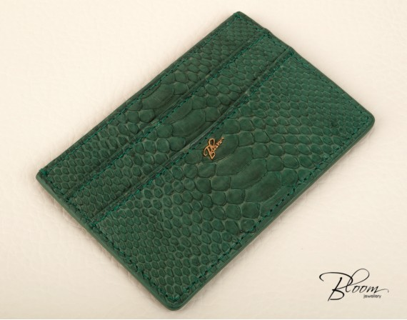 Genuine Python Leather Card Holder with 14K Gold Bloom Jewellery Logo