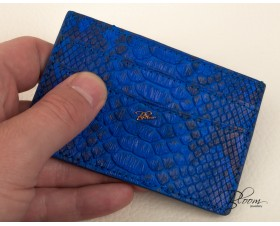 Genuine Python Leather Card Holder Electric Blue with 14K Gold Bloom Jewellery Logo