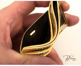 Genuine Python Leather Card Holder Gold Color with Logo 14K Gold Bloom Jewellery