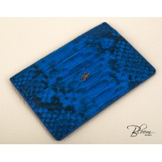 Genuine Python Leather ID Driving License Card Holder Navy Blue Color with 14K Gold Bloom Jewellery Logo