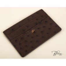 Genuine Ostrich Leather Card Holder ID Documents Dark Brown Color with 14K Solid Gold Logo Bloom Jewellery