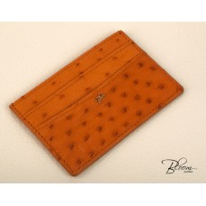 Genuine Ostrich Leather Card Holder ID Documents Ocher Color with 14K Solid Gold Logo Bloom Jewellery