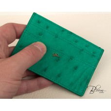 Ostrich Leather Card Holder ID Driving license Green Color with 14K Solid Gold Logo Bloom Jewellery