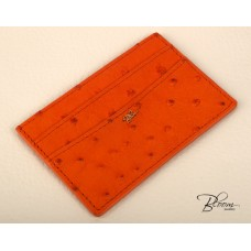 Genuine Ostrich Leather ID Card Holder Documents Dark Orange Color with 14K Solid Gold Logo Bloom Jewellery