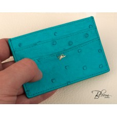 Turquoise Blue Card Holder Genuine Ostrich Leather ID Documents Cover with 14K Solid Gold Logo Bloom Jewellery