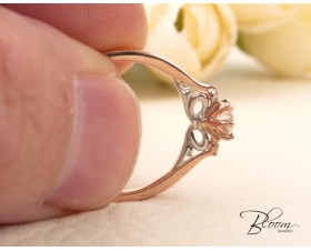 Diamond Engagement Ring 18K White and Rose Gold Art Deco Bloom Jewellery