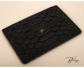 Genuine Python Leather Black Card Holder with 14K Gold Bloom Jewellery Logo