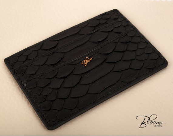 Genuine Python Leather Black Card Holder with 14K Gold Bloom Jewellery Logo