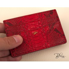 Genuine Python Leather ID Card Holder, Documents and Debit Card with 14K Gold Bloom Jewellery Logo