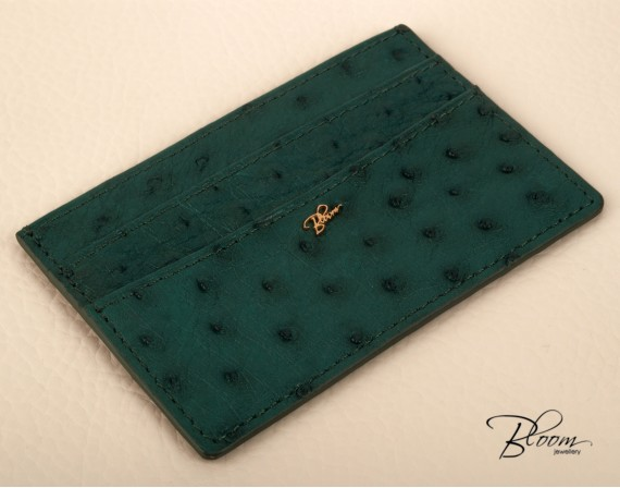 Deep Green Card Holder Genuine Ostrich Leather ID Documents Cover with 14K Solid Gold Logo Bloom Jewellery