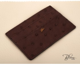 Brown Leather Card Holder Genuine Ostrich for ID Card, Driving license  with 14K Solid Gold Logo Bloom Jewellery