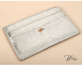 Metallic Silver Leather Card Holder Genuine Python  with 14K Gold Bloom Jewellery Logo