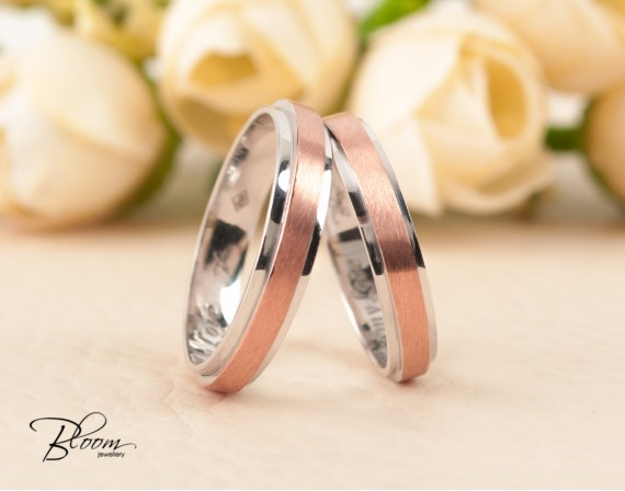 Two Tone Wedding Bands 14K White and Rose Gold Ring Bloom Jewellery