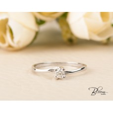 Delicate Diamond Engagement Ring 18K White Gold Bloom Jewellery