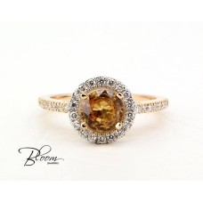 Yellow Sapphire Diamond Ring in 18K White Gold