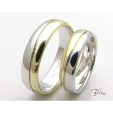 Two Tone Wedding Rings Set 14K White and Yellow Gold BloomJewellery