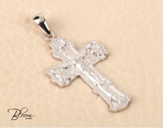 Russian Save and Protect Gold Cross Pendant 14K White Gold Crucifix Bloom Jewelley