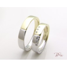 Comfort Fit Wedding Bands 14K White and Yellow Gold with or without CZ Stones Bloom Jewellery