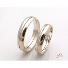 Couple of Wedding Rings made of 14K White and Rose Gold Comfort Fit Bloom Jewellery