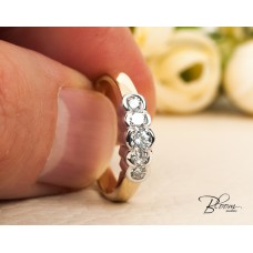 Five Stone Anniversary Ring Made of 14K Solid White and Yellow Gold Eternity Ring Bloom Jewellery