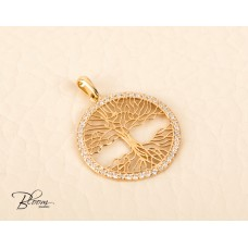 14K Solid Gold Tree of Life Pendant with CZ  Stones Bloom Jewellery